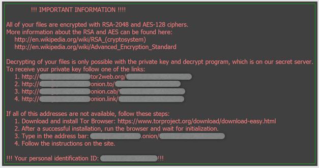 Locky virus ransomware message