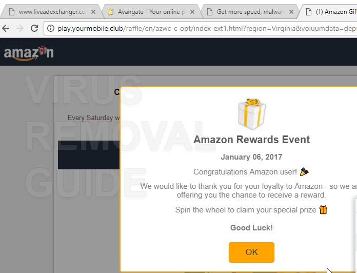 Cómo eliminar play.yourmobile.club Amazon Rewards Evento emergente ...