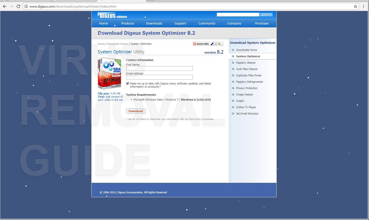 Digeus System Optimizer adware