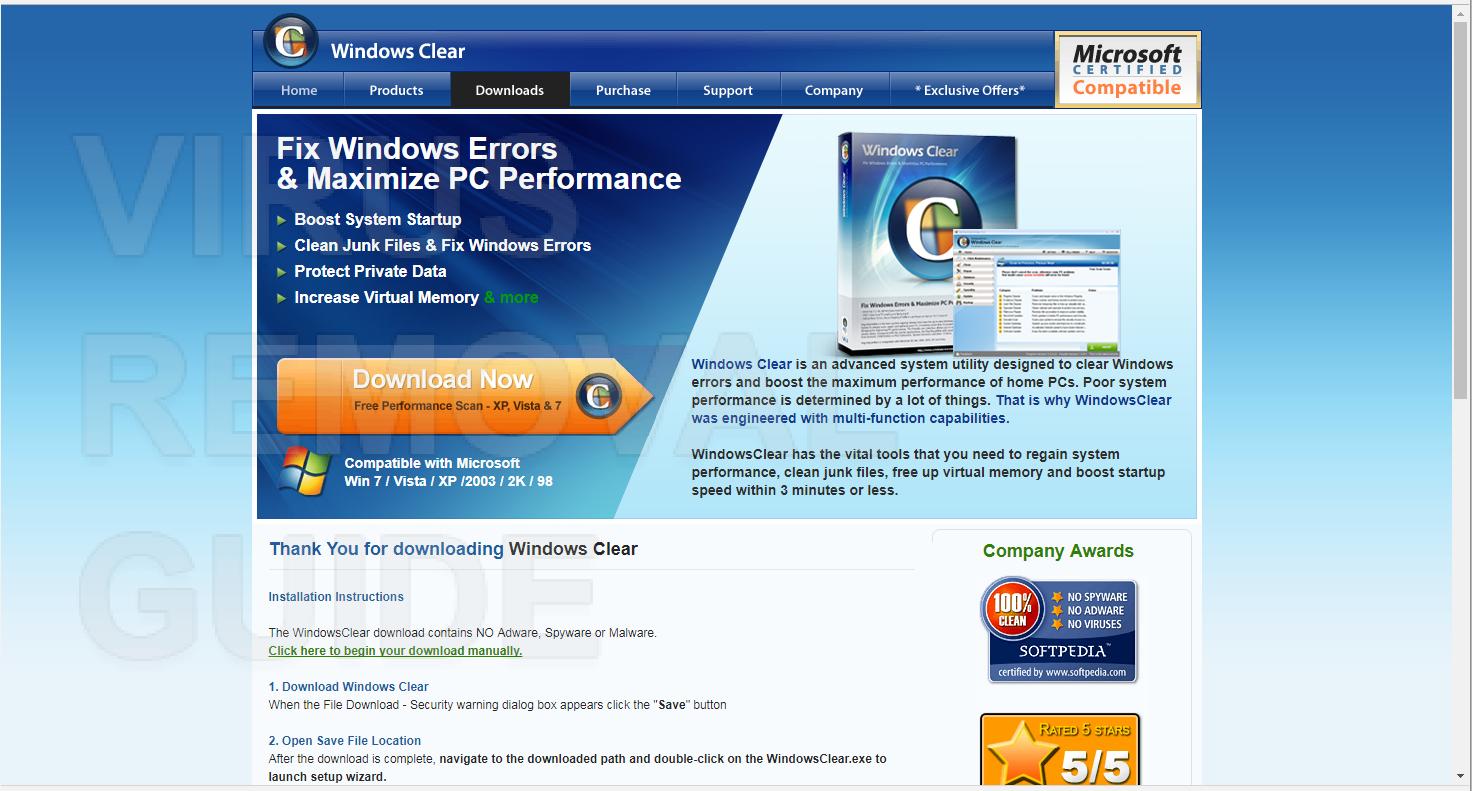 Windows Clear adware
