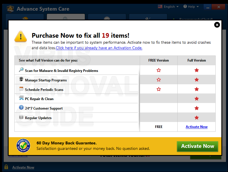 Advance System Care adware